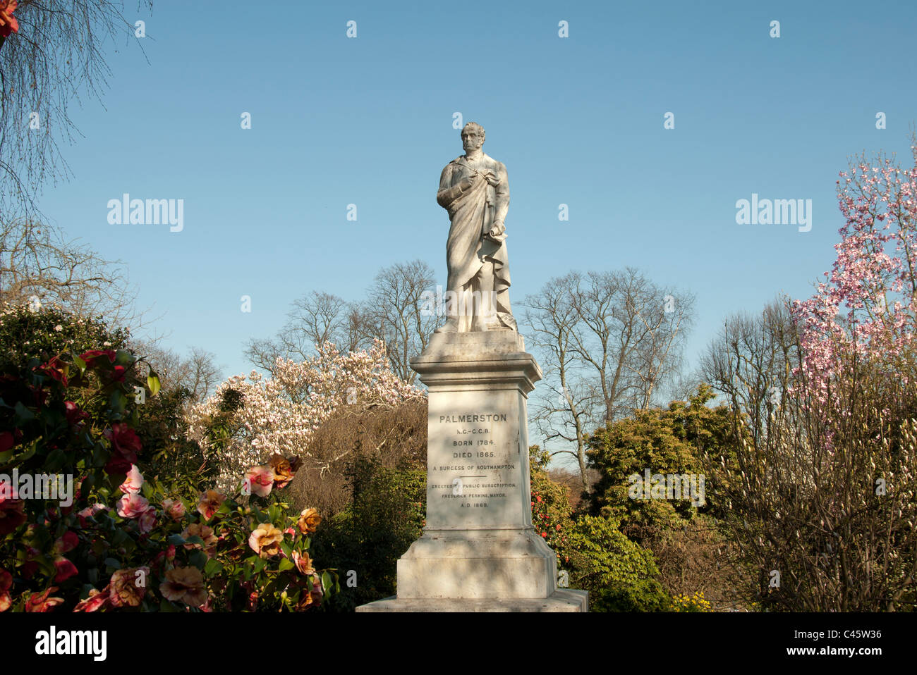 Statue of Palmerston in Palmerston Park Southampton Hampshire UK Stock Photo