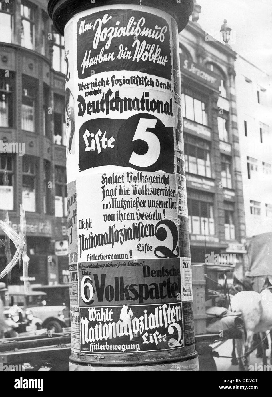 Election posters in advance of the general election, 1932 - Stock Image