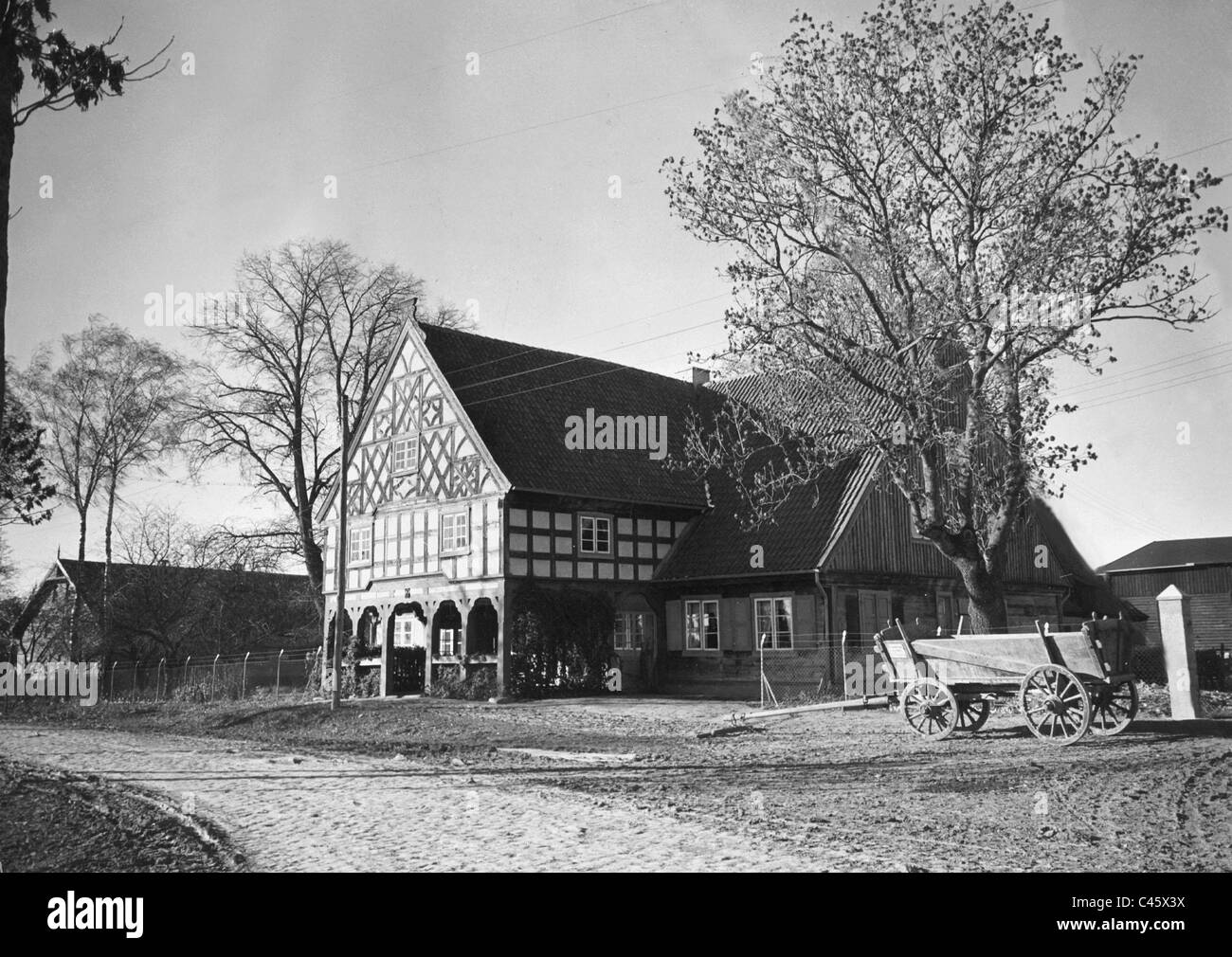 Farm with timber framing in West Prussia, 1942 Stock Photo: 37009614 ...