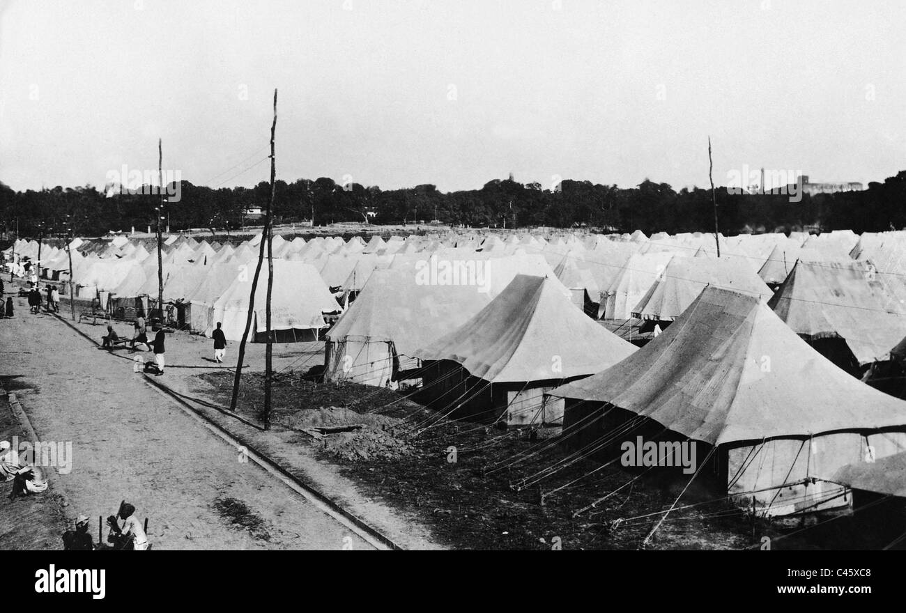 Tent complex for participants of the assembly of the Indian National Congress in Cawnpore - Stock Image