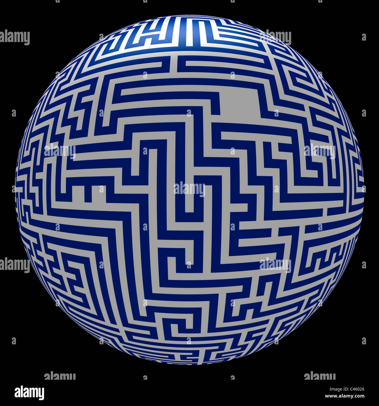 art work and illustration - maze with ending point - Stock Image