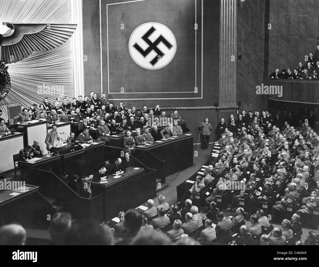 Adolf Hitler speaks to the Reichstag, 1939 - Stock Image