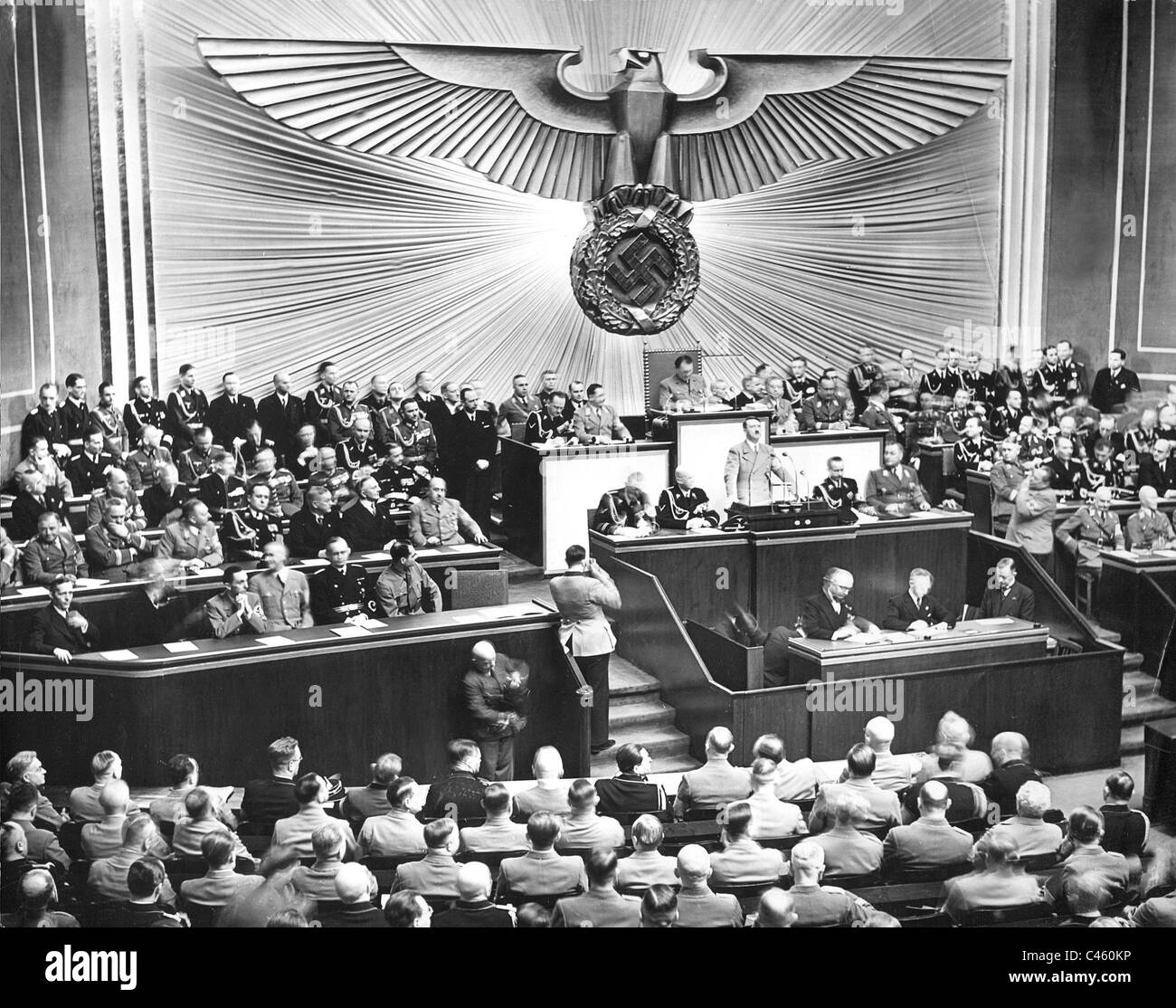 Adolf Hitler addresses to the Reichstag, 1939 - Stock Image