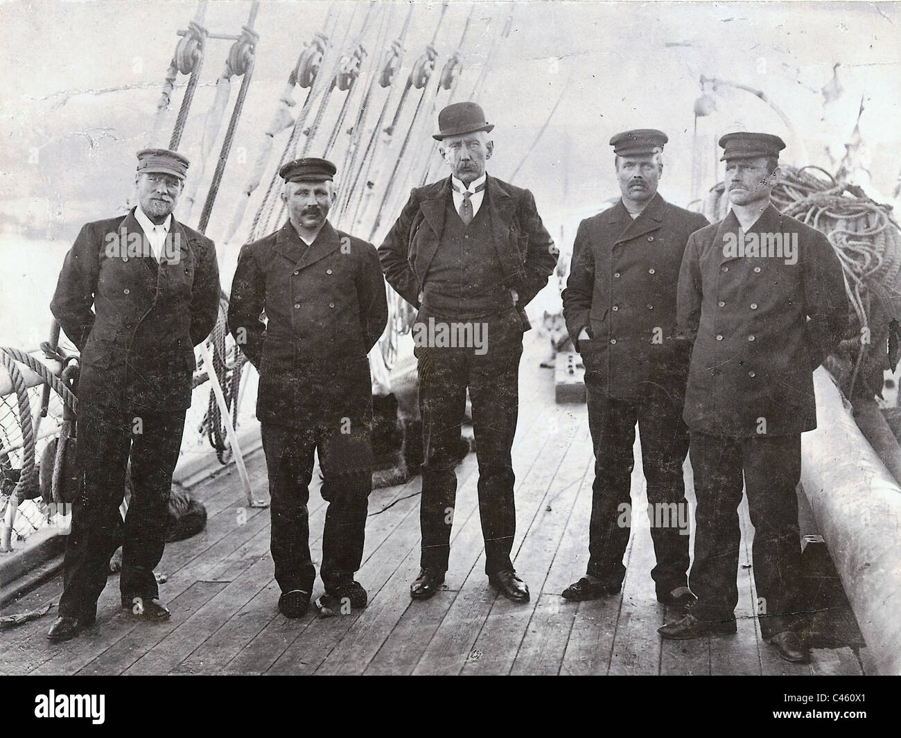 Roald Amundsen with expedition members, 1911 - Stock Image
