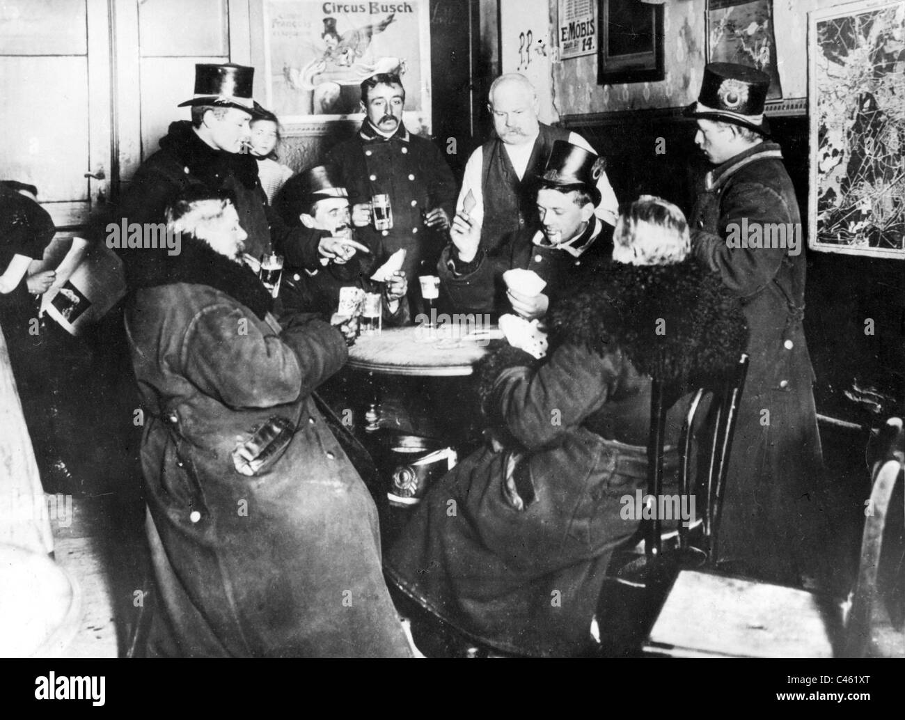 Berlin cabs coachman in the pub around the turn of the century - Stock Image
