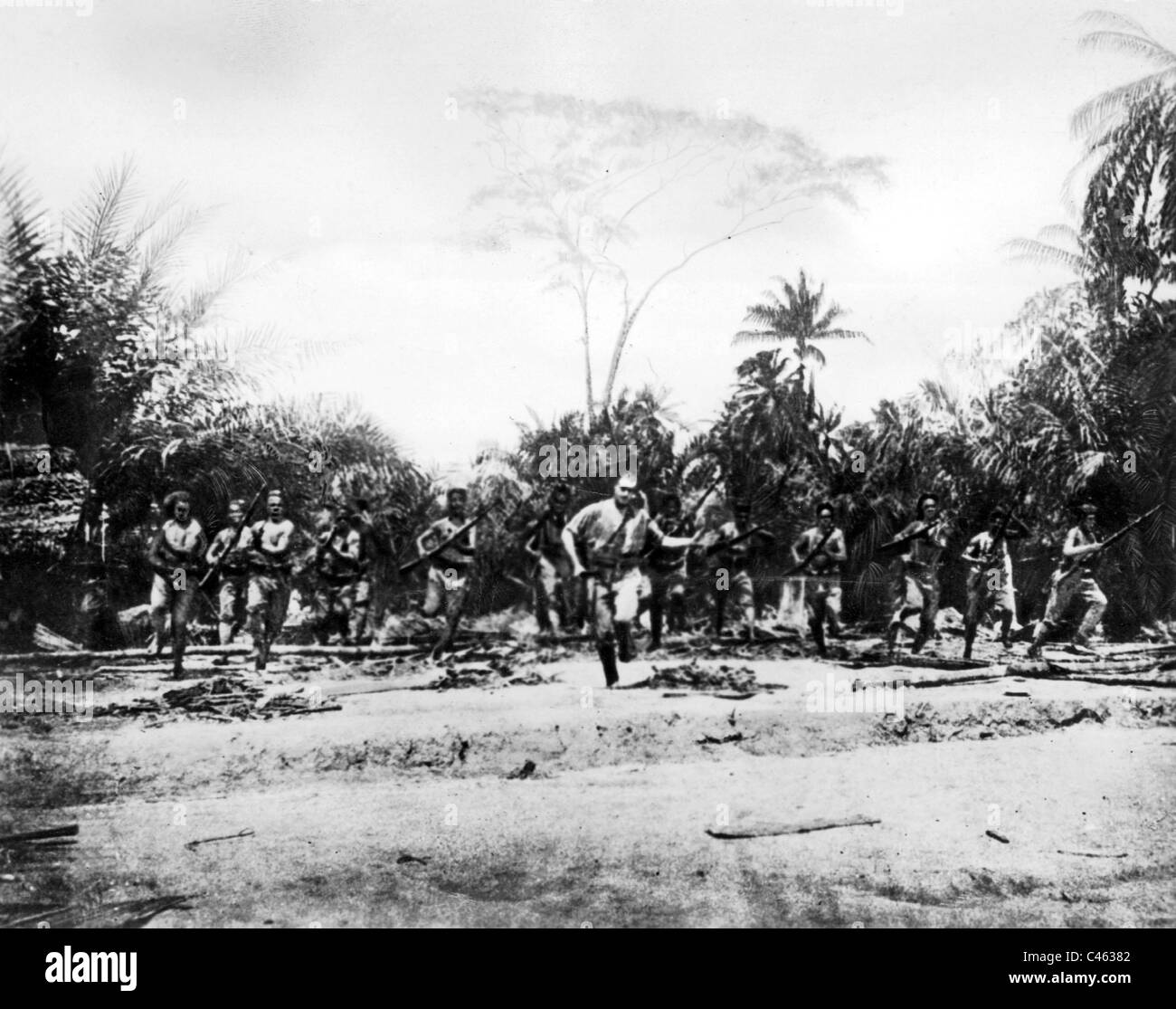 Attack of native troops of the German colony - Stock Image