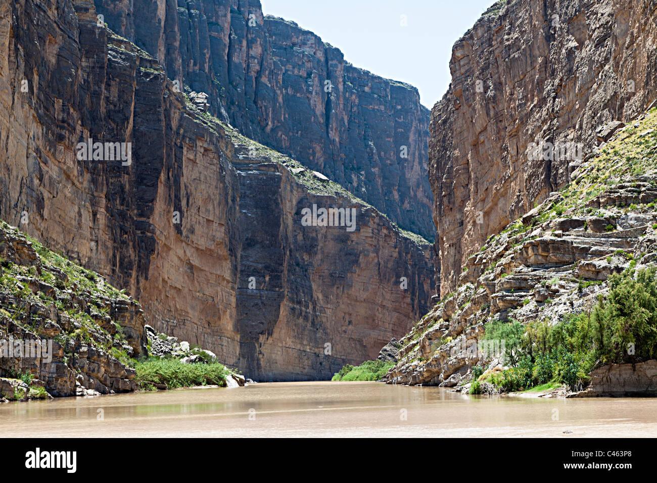 Santa Elena Canyon Rio Grande River Big Bend National Park Texas USA - Stock Image