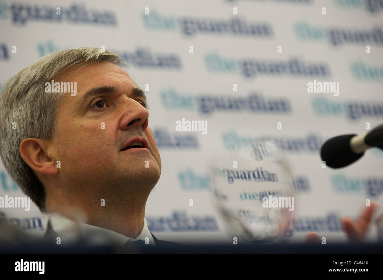 September 27,2010, Manchester, UK, Energy Secretary Chris Huhne speaks during The Guardian newspaper Debate in The - Stock Image