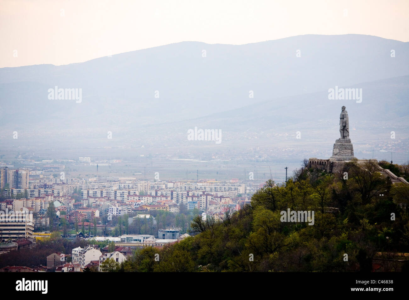 Aerial photograph of a World War Two monument outside of Plovdiv Bulgaria - Stock Image