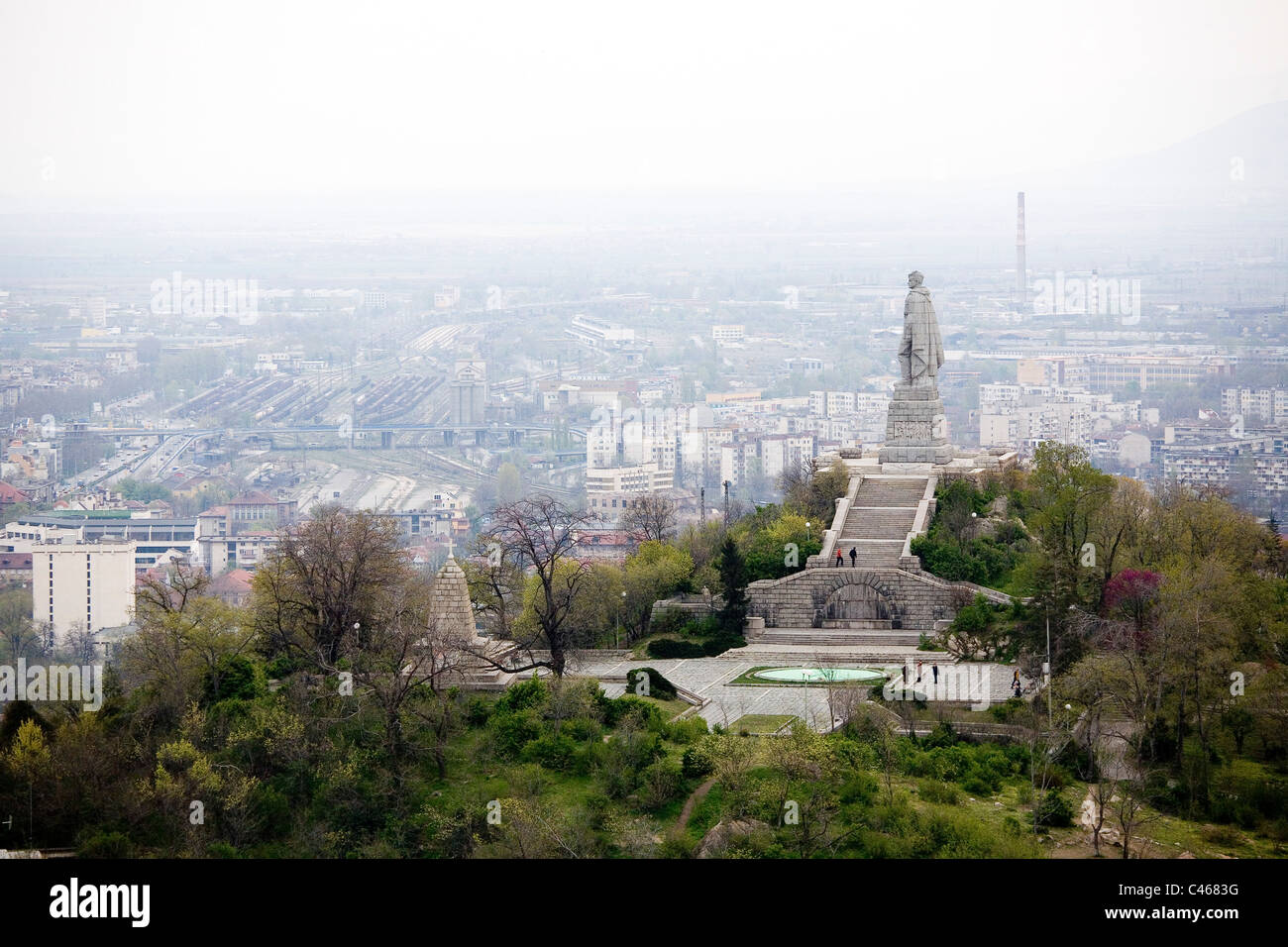 Aerial photograph of a World War Two monument near the city of Plovdiv - Stock Image