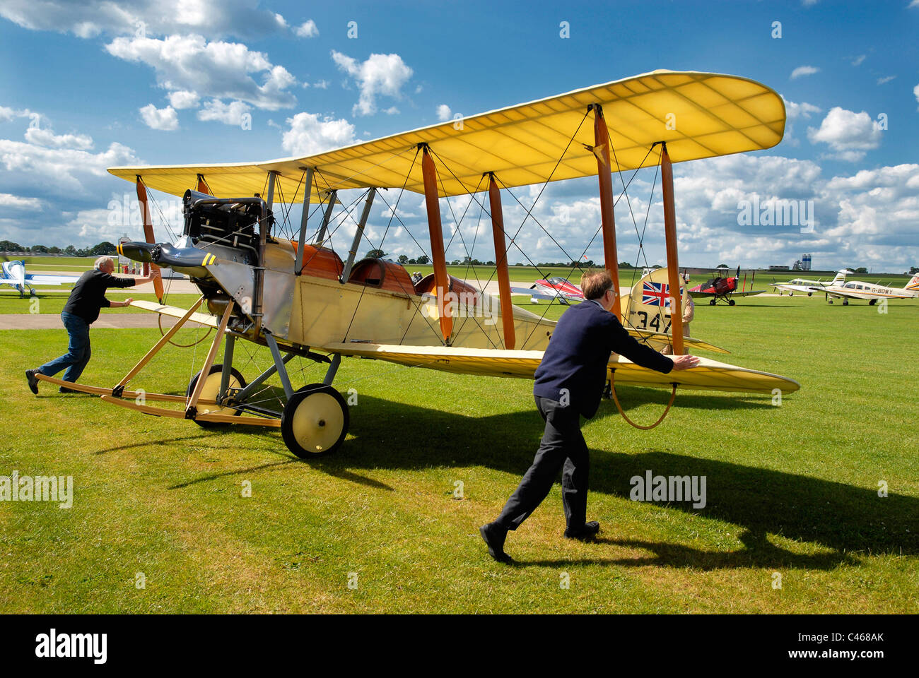 A replica Be-2C WW1 vintage biplane is wheeled out at Sywell Aerodrome, Northamptonshire, 1-06-2011. - Stock Image