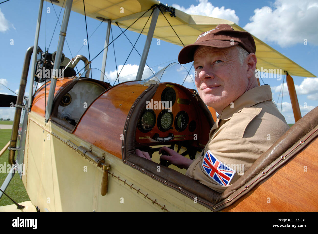 Matthew Boddington in his replica Be-2C WW1 vintage biplane at Sywell Aerodrome, Northamptonshire, 1-06-2011. - Stock Image