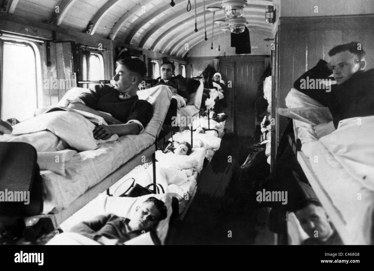 the interior of a hospital train 1940
