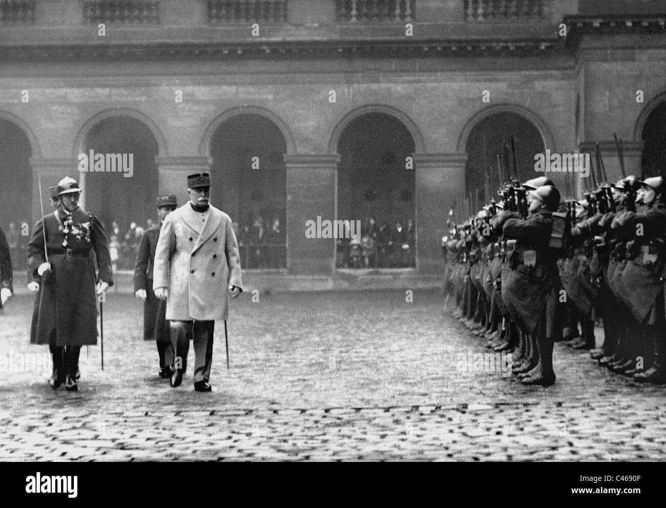 Henri Philippe Petain steps off a guard of honor, 1936 - Stock Image