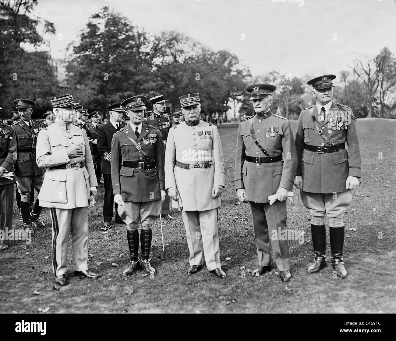 Henri Philippe Petain and John Pershing in West Point, 1931 - Stock Image