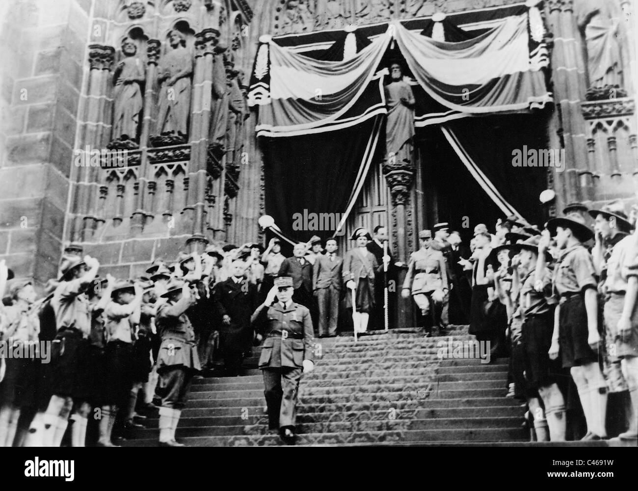 Henri Philippe Petain during the celebration of the Armistice, 1940 - Stock Image