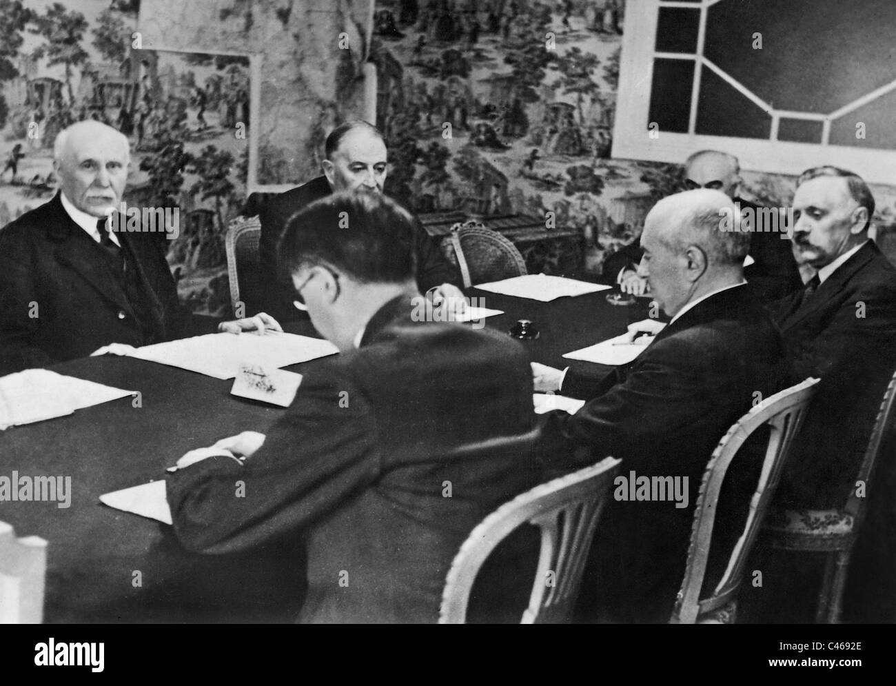 Henri Philippe Petain and his cabinet in Vichy, 1941 - Stock Image