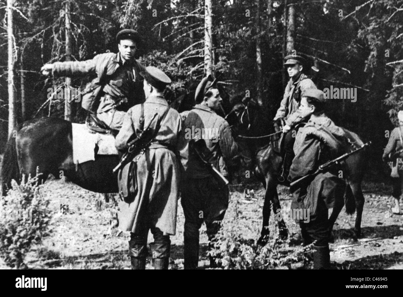 Second World War: Russian partisans in occupied Soviet Union - Stock Image