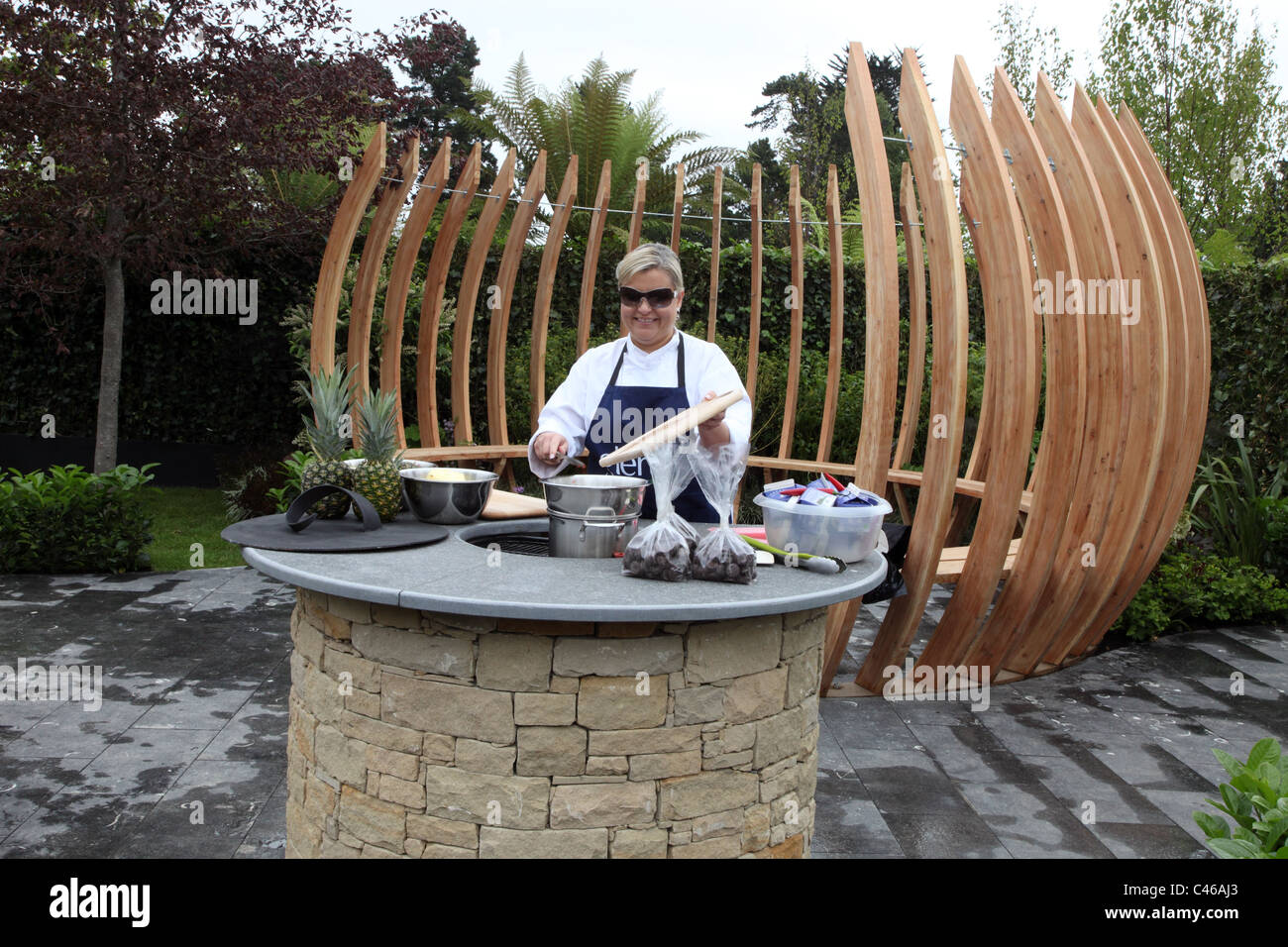 Chef Rozanna Stevens in The Orb, show garden by Anne Hamilton for Bloom, Dublin Ireland - Stock Image