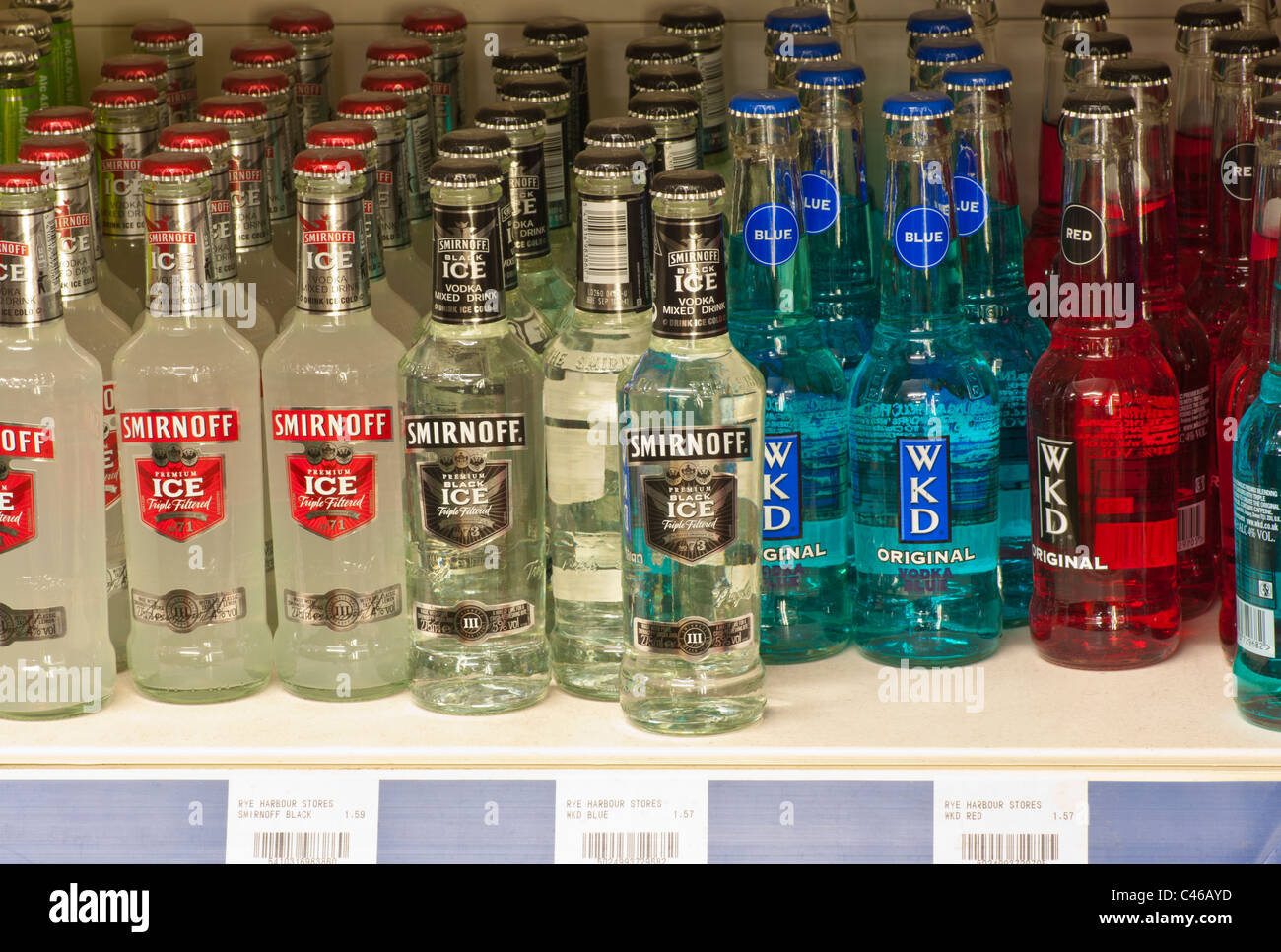 Alcopops On A Supermarket Shelf - Stock Image