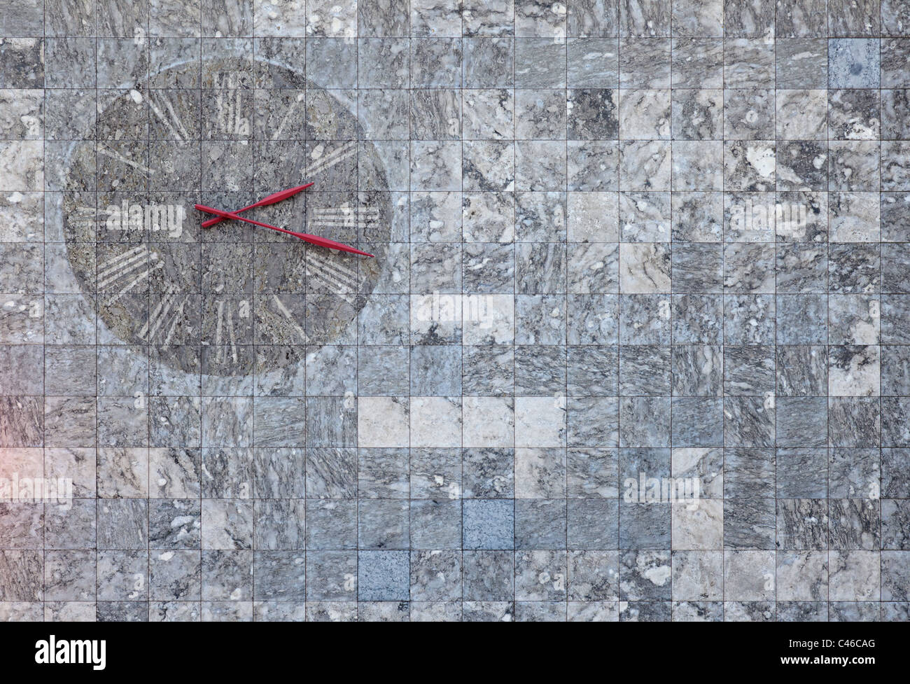 A marble wall clock found in Mainz, Germany. Suitable for images regarding time or texture bacjkgrounds. - Stock Image