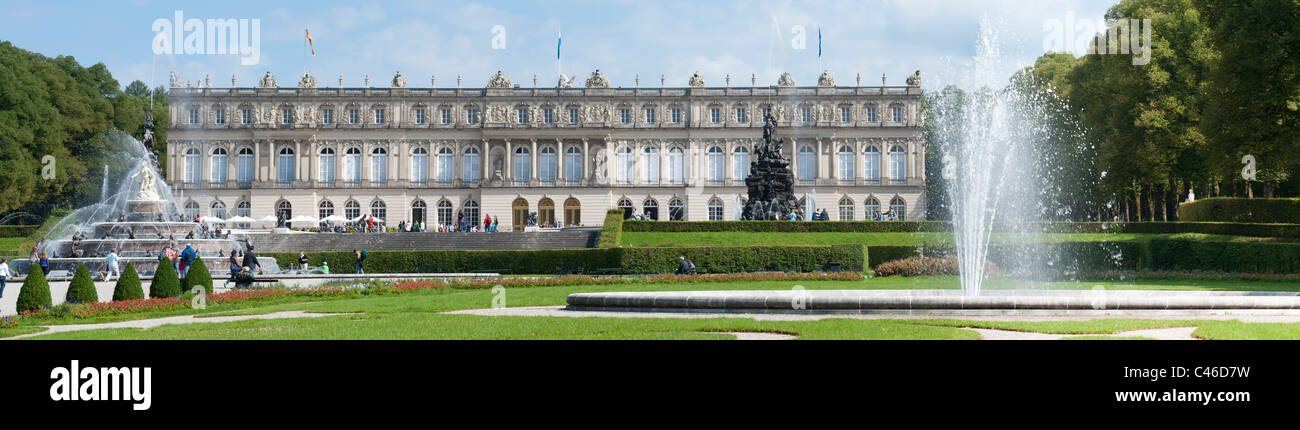 landmark famous castle Herrenchiemsee of King Ludwig II. in Bavaria, Germany - Stock Image