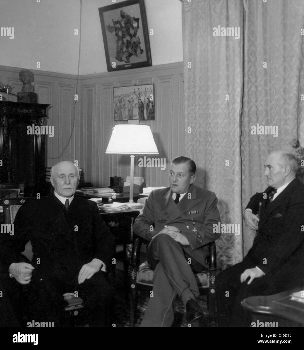 Henri Philippe Petain, Otto Abetz and Admiral Darlan, 1941 - Stock Image