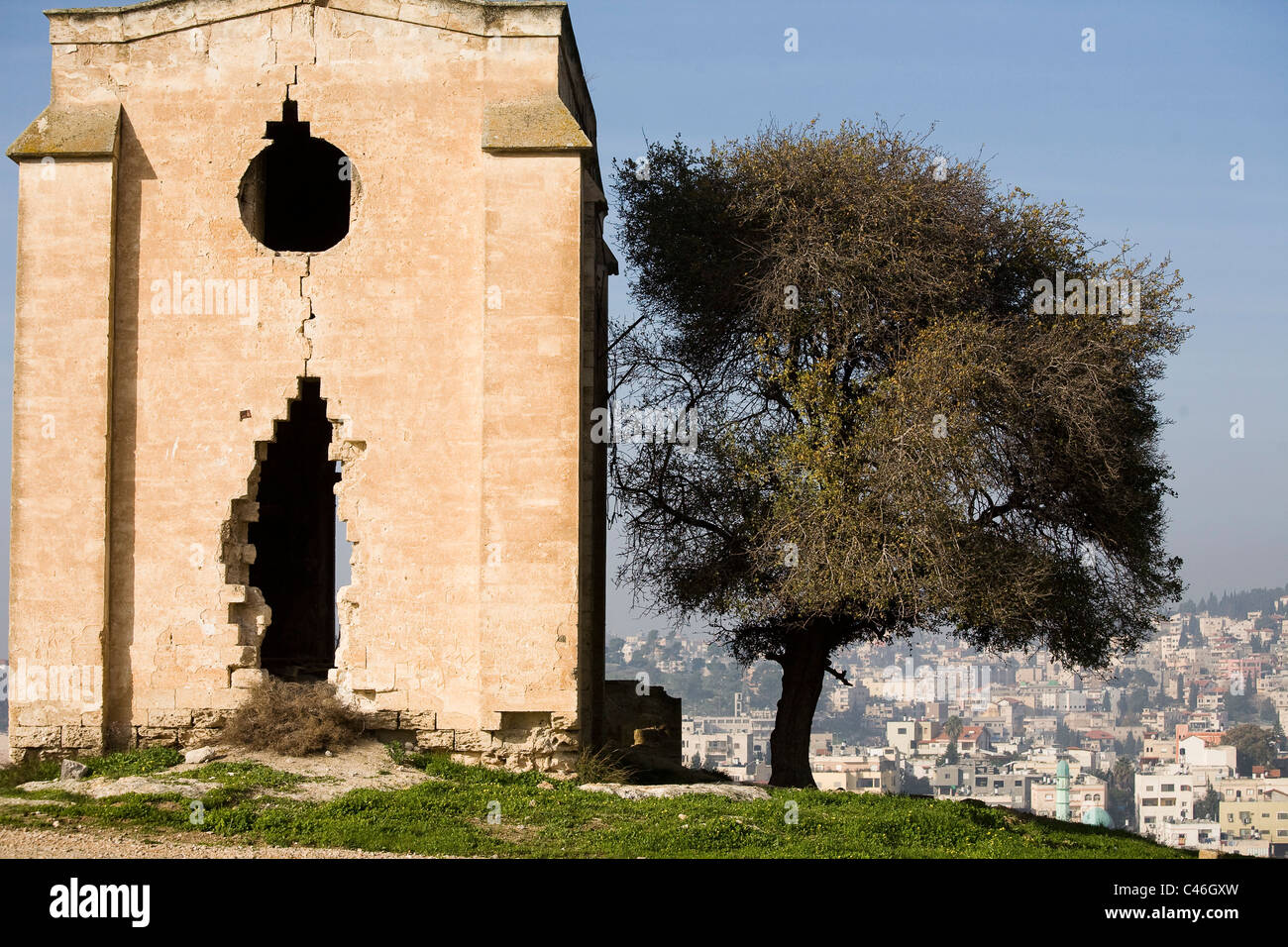 Photograph of the ruined church of Mary's fear near the city of Nazareth in the Lower Galilee - Stock Image