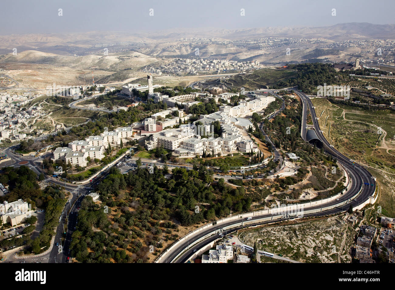 Aerial photograph of the Hebrew University on mount Scopus Jerusalem - Stock Image