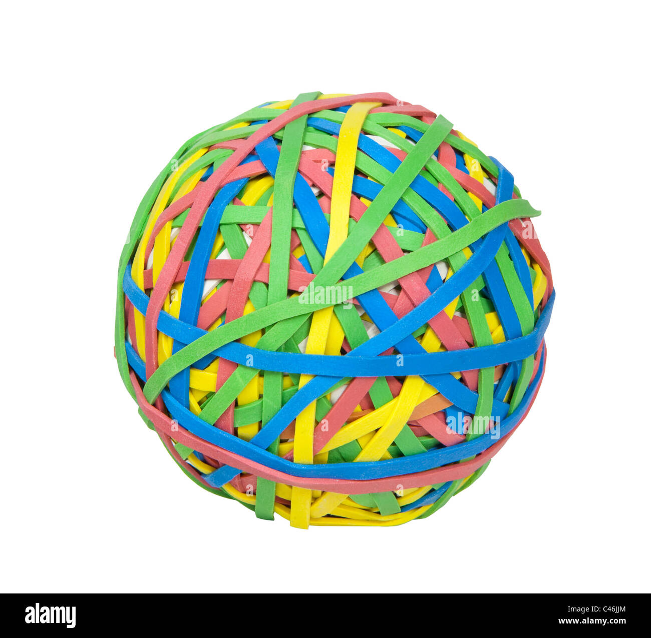 Multi-colored ball of rubber bands, includes clipping path - Stock Image