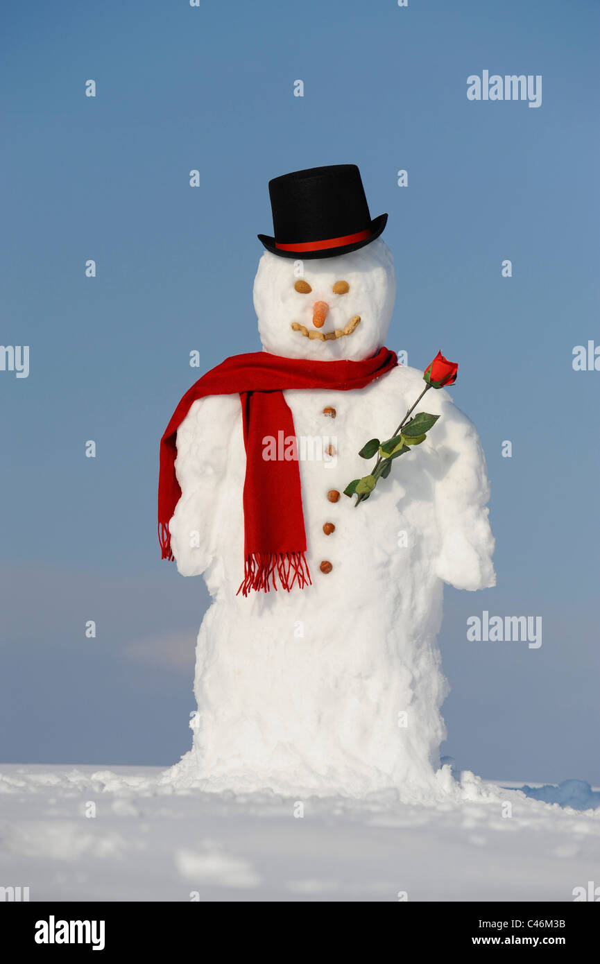 Snowman at Christmas with hat and shawl - Stock Image