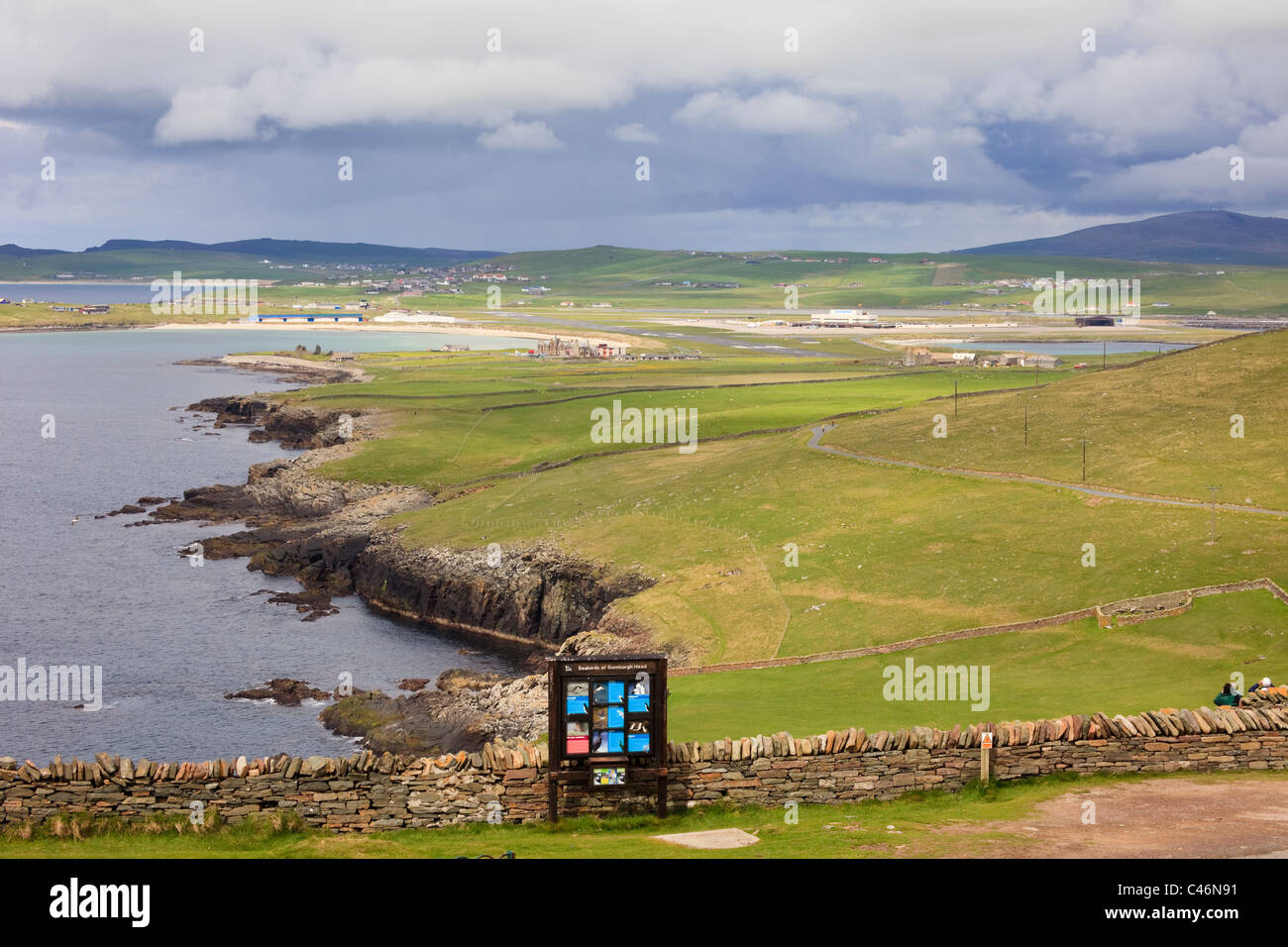 View along the coast to the airport from Sumburgh Head at Sumburgh, South Mainland, Shetland Islands, Scotland, - Stock Image