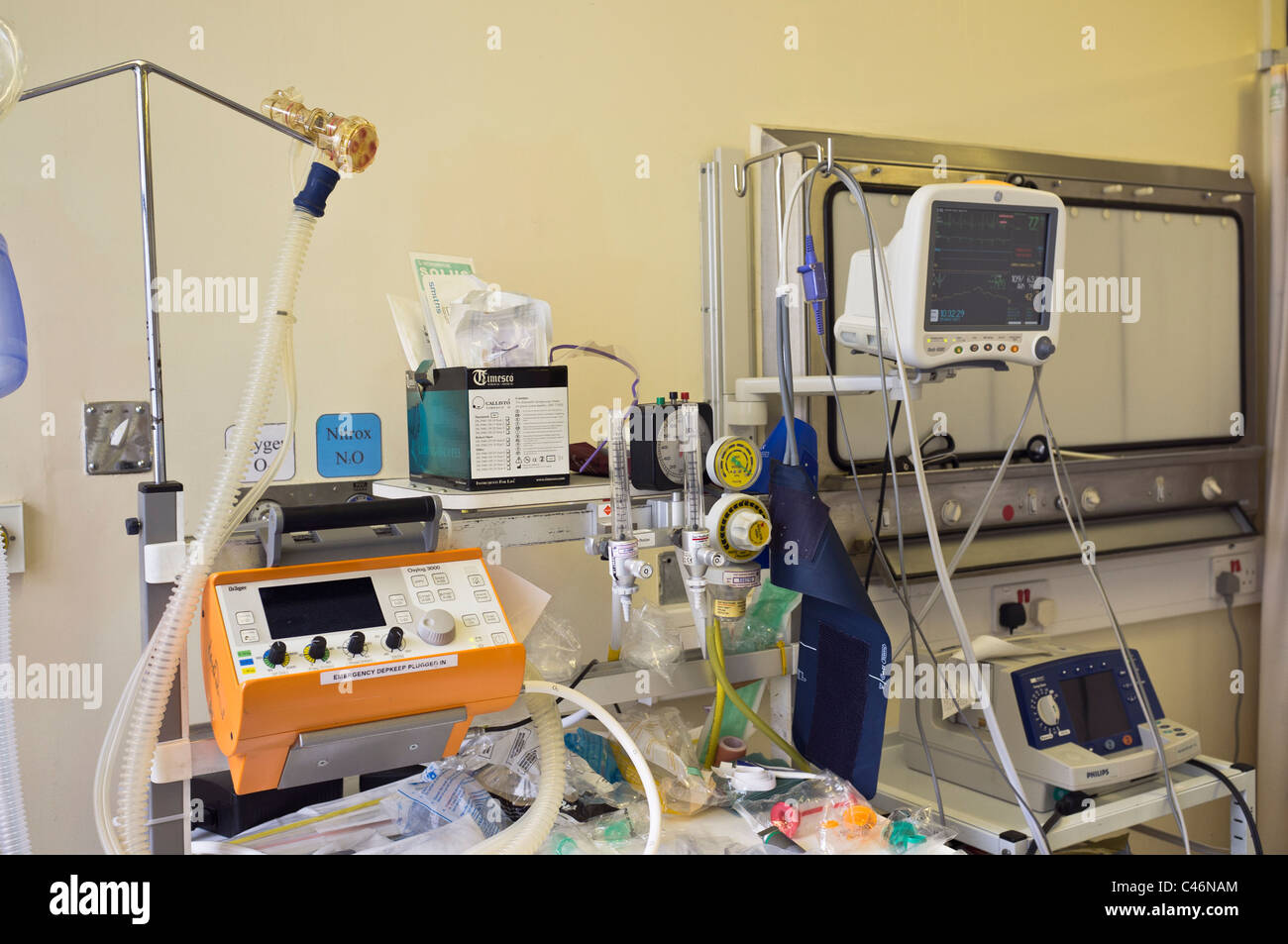 UK Medical monitoring equipment in the Resuscitation unit in the Accident and Emergency department of an NHS hospital - Stock Image
