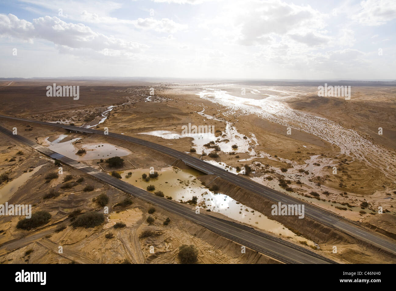 Aerial photograph of the floods in the Arava - Stock Image