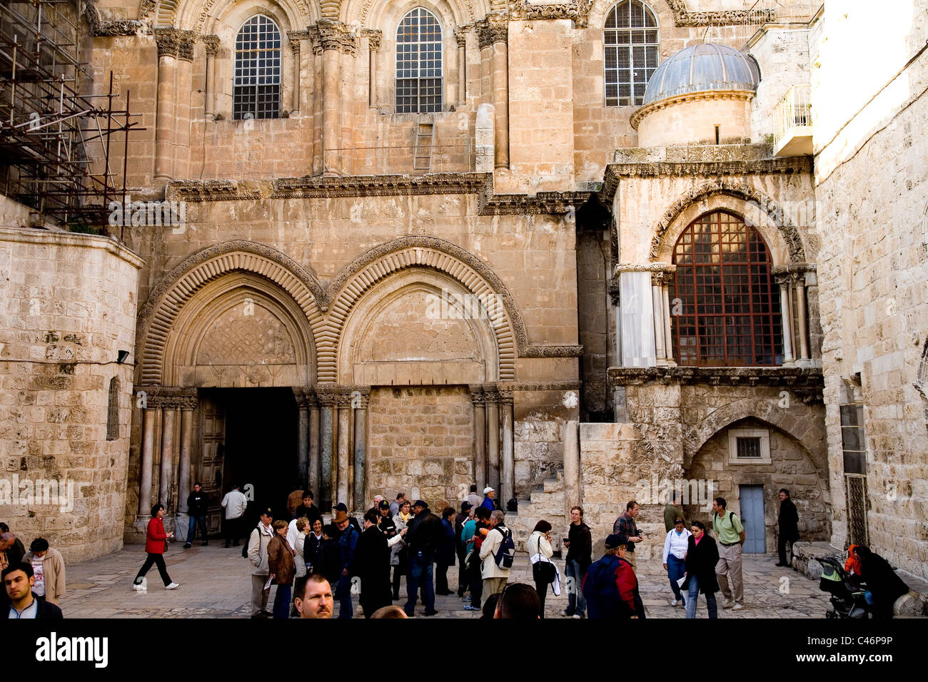 Photograph of the church of the Holy Sepulchre in the old city of Jerusalem - Stock Image