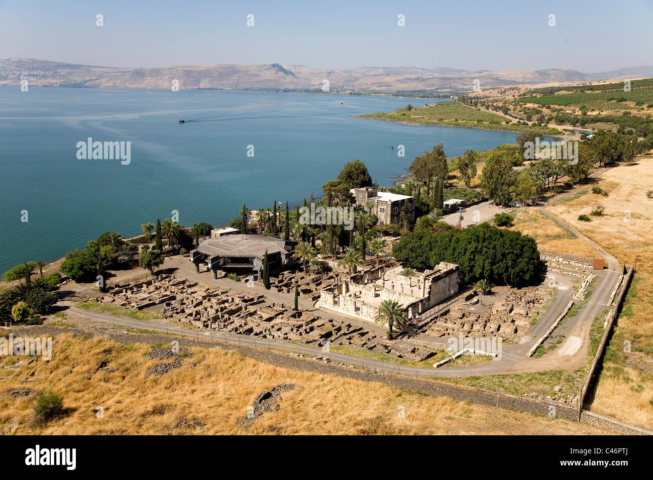 Aerial photograph of the ruins of Capernaum in the sea of Galilee Stock Photo