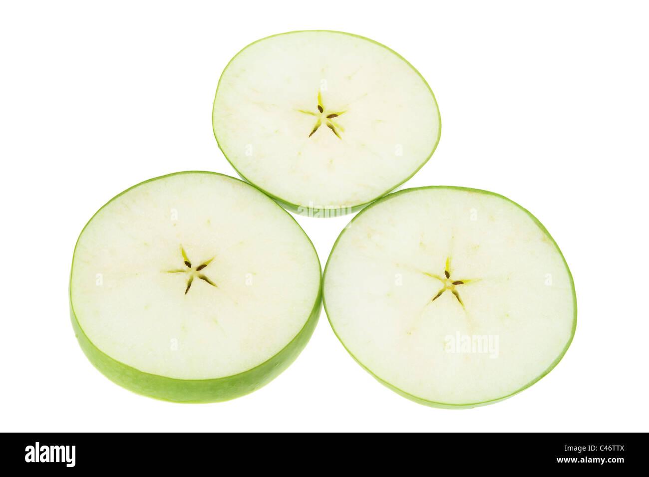 Slices of Granny Smith Apple - Stock Image