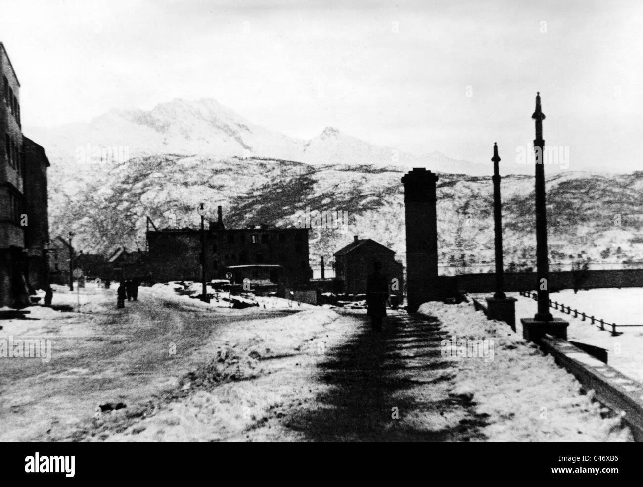 Second World War: Norwegian campaign. Battles of Narvik, 1940 - Stock Image