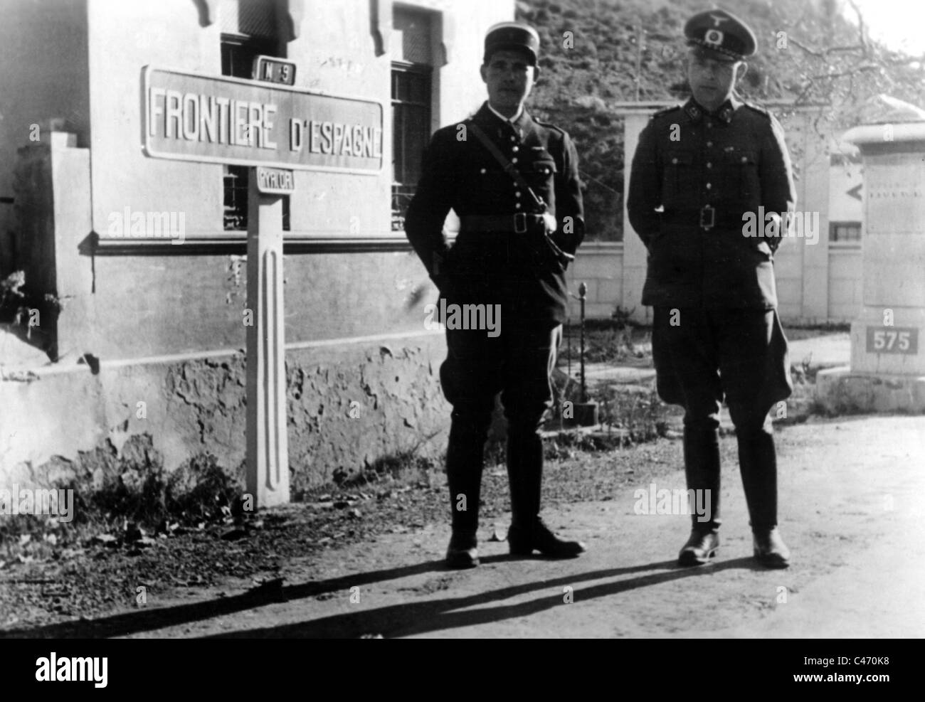 Second World War: Western Front. German troops securing the border in occupied France Stock Photo