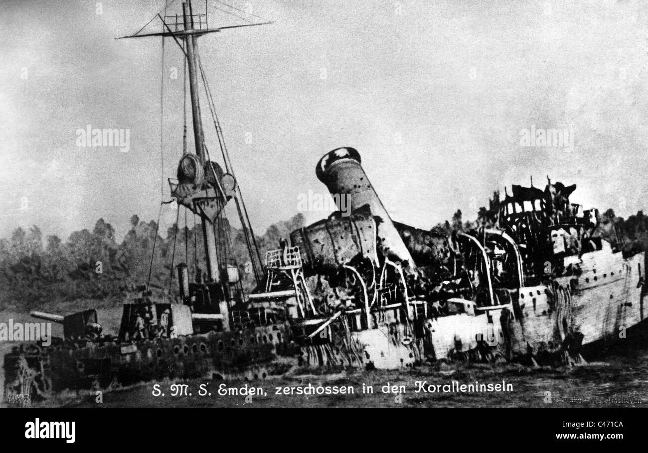First World War: Cruiser 'Emden' in the Indian Ocean, 1914 - Stock Image