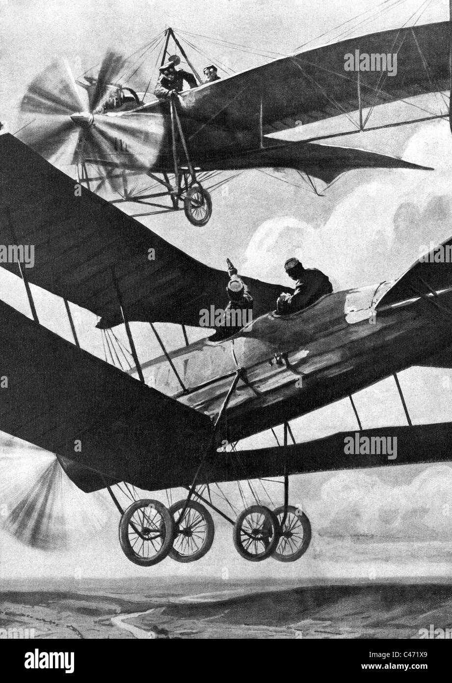 Aerial combat in World War One, 1914-1918 - Stock Image