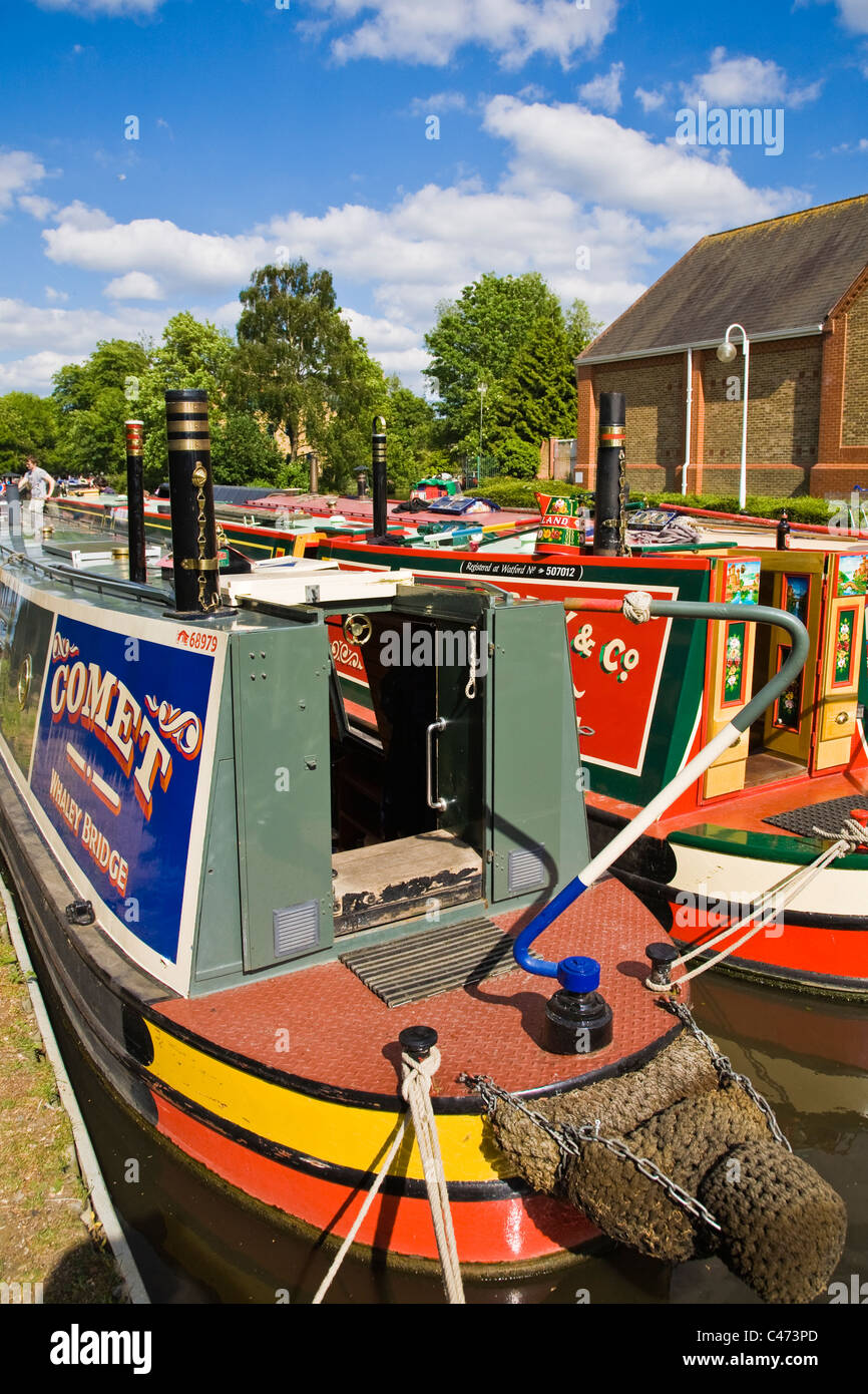 Narrowboats moored for canal festival - Stock Image