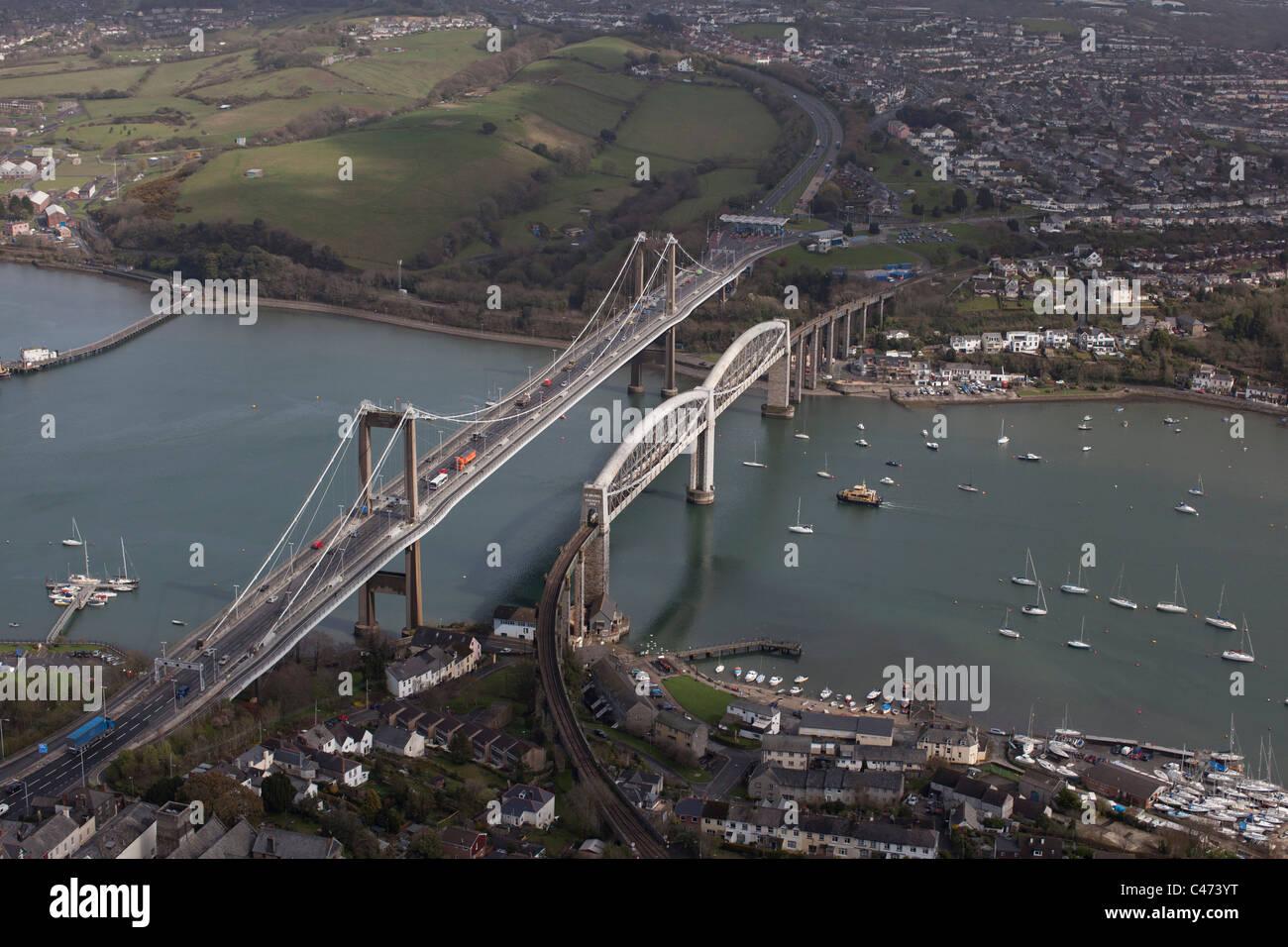 Aerial view of the Tamar Road Bridge and Isambard Kingdom Brunel's Royal Albert Bridge, Plymouth, Devon, UK Stock Photo