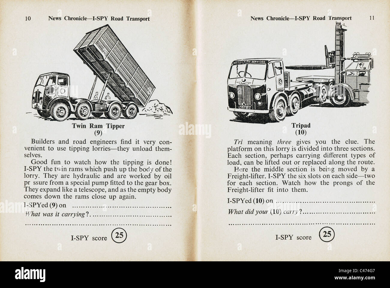 Pages from I-Spy book of Road Transport published by the Daily News in 1960 - Stock Image