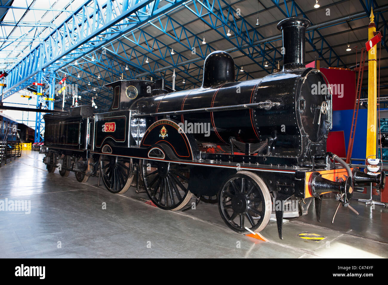 LNWR No. 790 Hardwicke locomotive displayed in the Great Hall of the National Railway Museum, York. - Stock Image