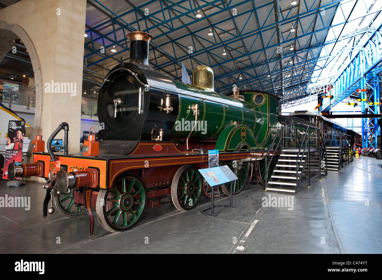 The South Eastern & Chatham Railway Class D 4-4-0 steam locomotive No 737, 1901 at the National Railway Museum - Stock Image