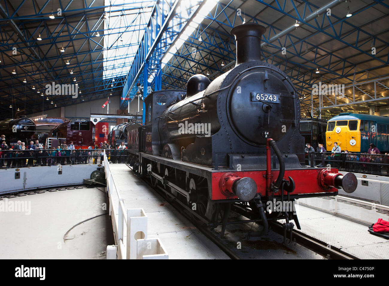 LNER: 65243 Class J36 'Maude' 0-6-0 Stirling on the turntable at the National Railway Museum in York - Stock Image
