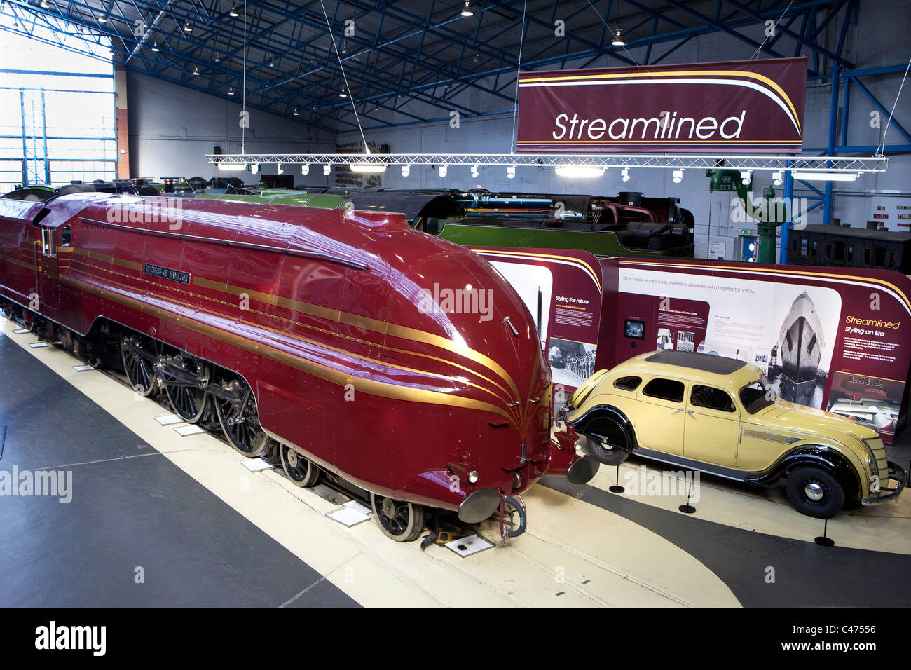 The Duchess of Hamilton preserved streamlined steam locomotive at the National Railway Museum in York - Stock Image