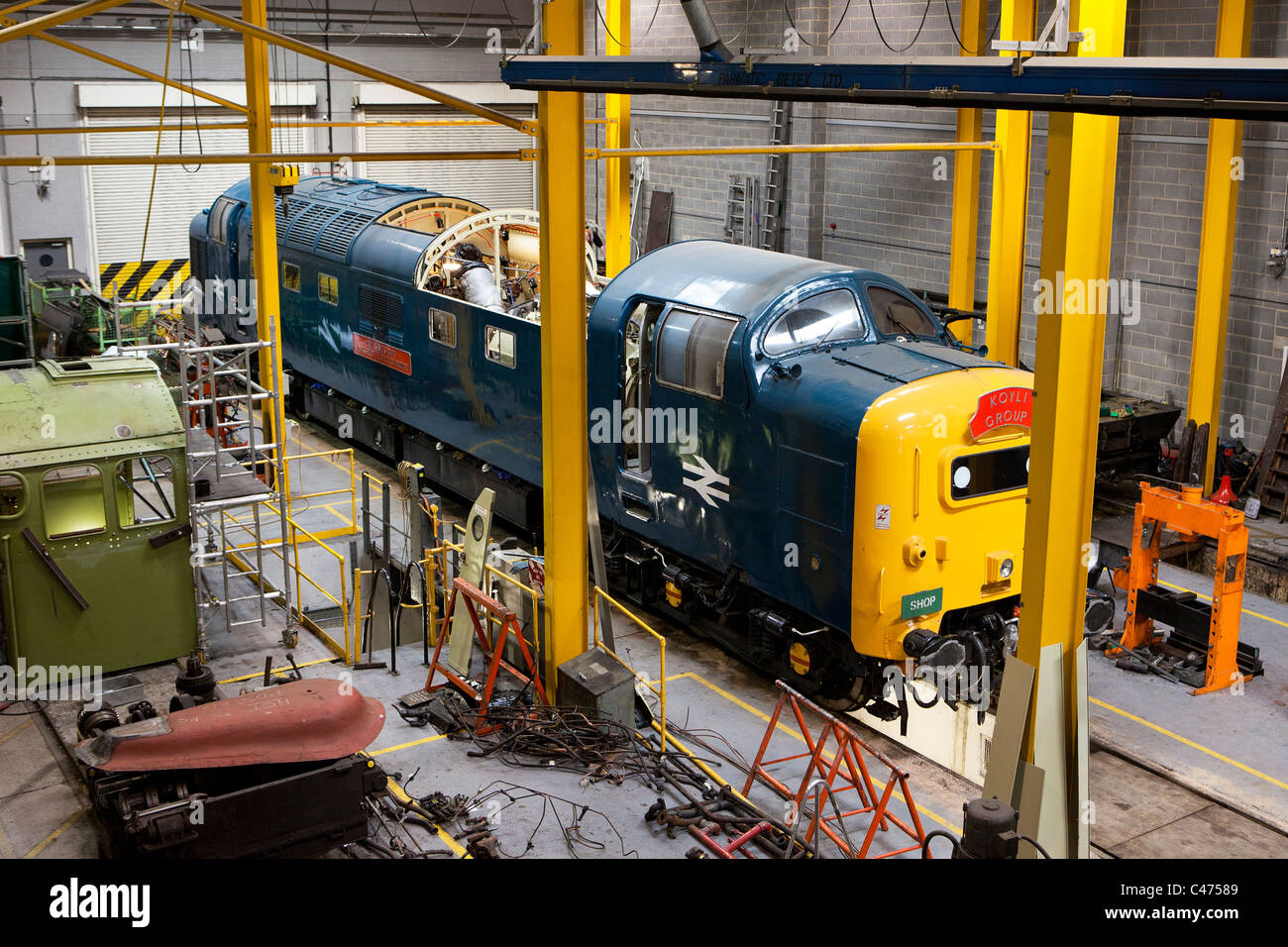 Engineering workshop at the National Railway Museum in York - Stock Image