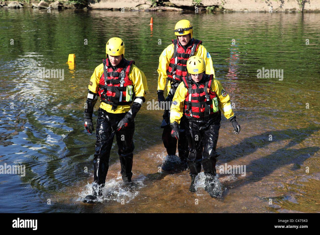 An RSPCA Team inspecting the River Eden at the Appleby Horse Fair, Appleby-In-Westmorland, Cumbria, England, U.K. - Stock Image